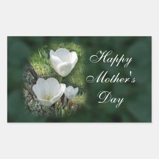 Tulipanes felices del blanco del día de madre rectangular altavoces