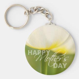 Tulipanes felices del día de madre llavero redondo tipo pin
