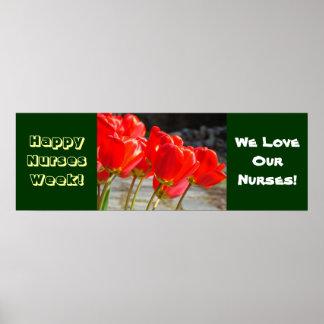 Tulipanes felices del rojo de los posters de la