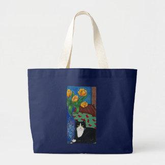 ¡Tulipanes, gato del smoking y un ratón! Arte popu Bolsa Lienzo