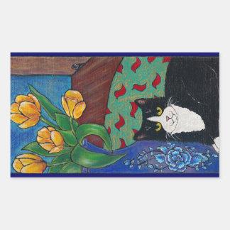 ¡Tulipanes gato del smoking y un ratón Arte popu Rectangular Altavoces