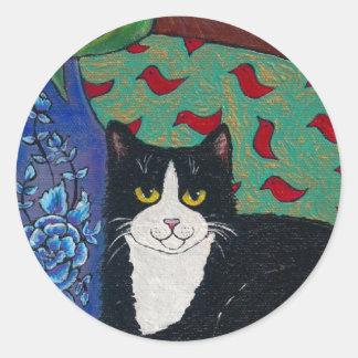 ¡Tulipanes gato del smoking y un ratón Arte popu Pegatinas Redondas