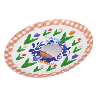 Tulipanes holandeses Holanda de Delftware del mode Plato Para Fiesta