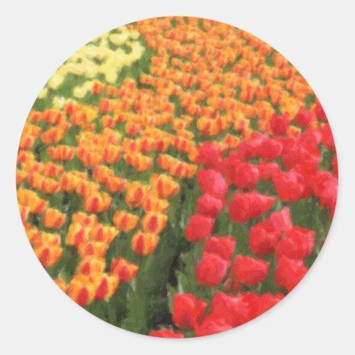 Tulipanes mezclados 1 pastel pegatina redonda