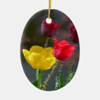 Tulipanes multicolores florecientes, foto extrudie