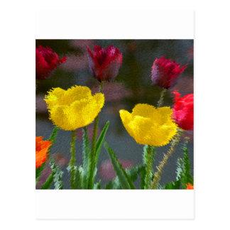 Tulipanes multicolores florecientes foto extrudie