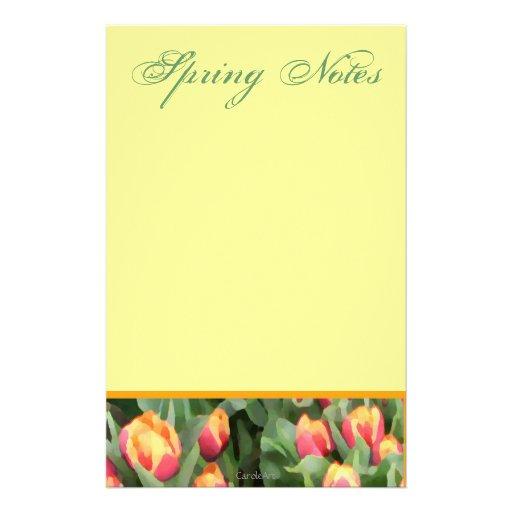 Tulipanes naranja-amarillos papeleria personalizada