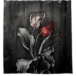 Tulipanes oscuros cortina de baño