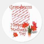 Tulipanes para el día de madre para Grandmum Pegatina Redonda