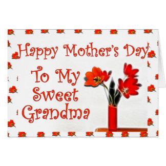 Tulipanes para el día de madre para la abuela tarjeta de felicitación