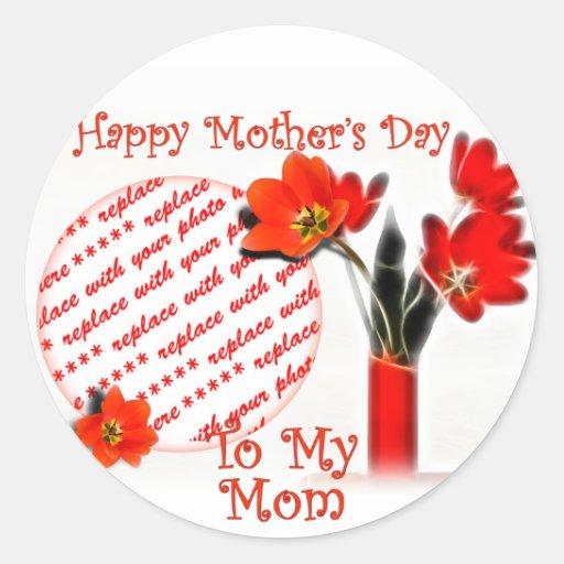 Tulipanes para el día de madre pegatina redonda