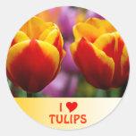 Tulipanes Pegatinas Redondas