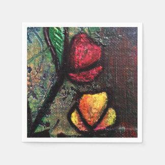 Tulipanes pintados en las servilletas de papel