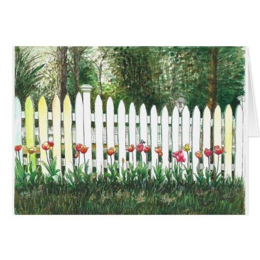 Tulipanes por la cerca blanca felicitaciones