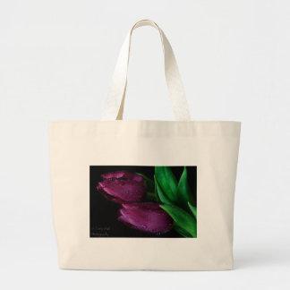 Tulipanes púrpuras bolsas lienzo