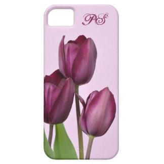Tulipanes púrpuras iPhone 5 cárcasas