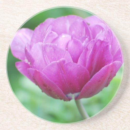 Tulipanes púrpuras posavasos manualidades
