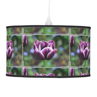 Tulipanes púrpuras y blancos