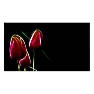 Tulipanes que brillan intensamente tarjetas de visita