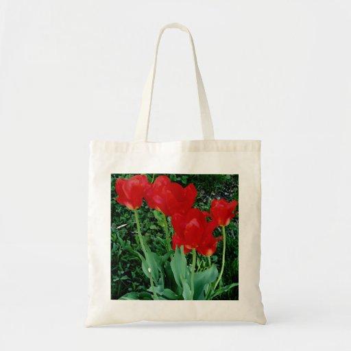 Tulipanes rojos bolsas de mano