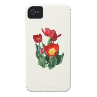 Tulipanes rojos brillantes Case-Mate iPhone 4 funda