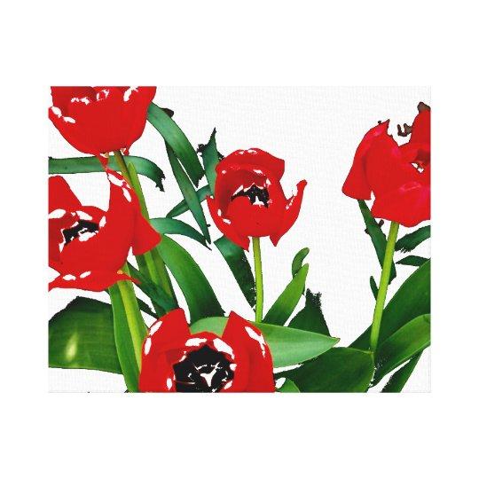 Tulipanes rojos brillantes impresión en lienzo