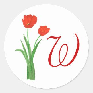 Tulipanes rojos, casando a los pegatinas de los etiquetas redondas