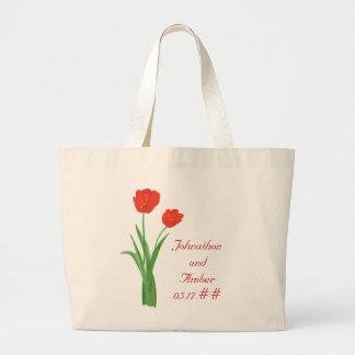 Tulipanes rojos, casando las bolsas de asas