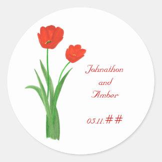 Tulipanes rojos, casando reserva los pegatinas de