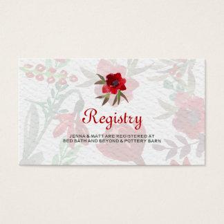 Tulipanes rojos de la acuarela que casan la tarjetas de visita
