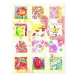 Tulipanes rojos de la amapola del arte del collage tarjetas postales