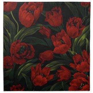 Tulipanes rojos en negro servilletas