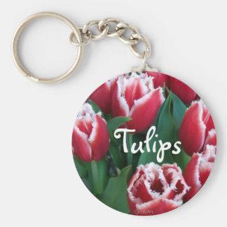 Tulipanes rojos franjados llavero redondo tipo pin