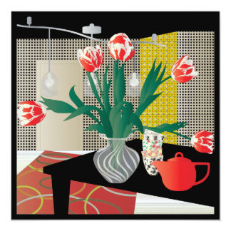"""Tulipanes rojos invitación 5.25"""" x 5.25"""""""