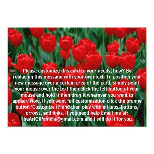 """Tulipanes rojos invitación 5"""" x 7"""""""