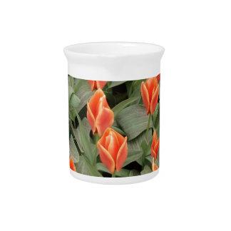 tulipanes rojos jarra de beber