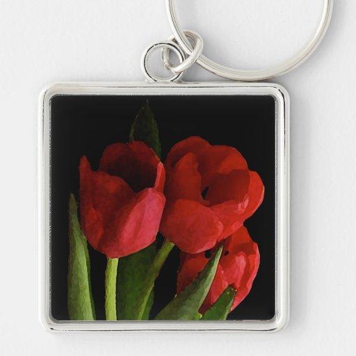 Tulipanes rojos llaveros