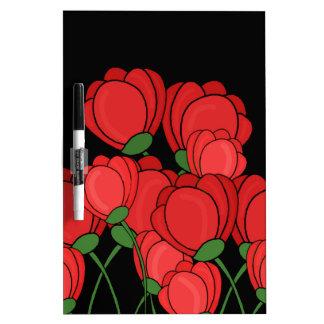 Tulipanes rojos pizarras