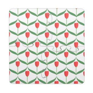 Tulipanes rojos posavasos de puzzle