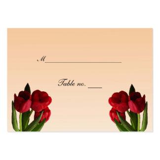 Tulipanes rojos que casan la tarjeta del tarjetas de visita grandes