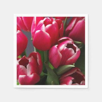 Tulipanes rojos servilletas de papel