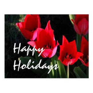 Tulipanes rojos tarjeta postal