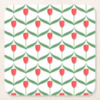 Tulipanes rojos posavasos desechable cuadrado