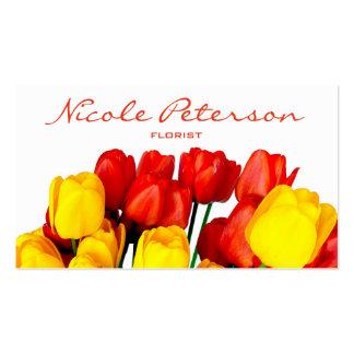 tulipanes rojos y amarillos - florista tarjetas de visita