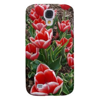 Tulipanes rojos y blancos funda para galaxy s4
