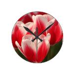 Tulipanes rojos y blancos relojes de pared