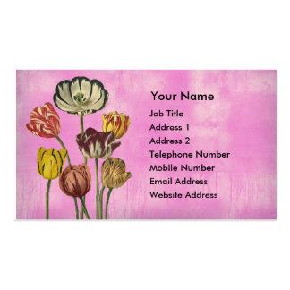 Tulipanes rosados amarillos rojos en un fondo plantilla de tarjeta personal
