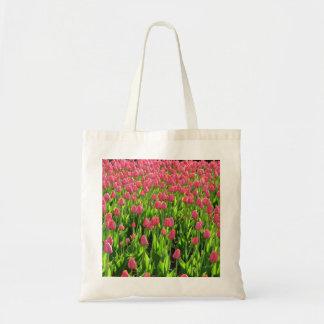 Tulipanes rosados bolsa tela barata