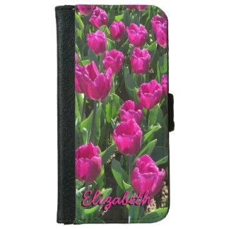 Tulipanes rosados brillantes hermosos funda cartera para iPhone 6
