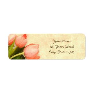 Tulipanes rosados de la primavera etiquetas de remite